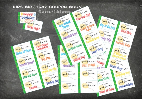 kids happy birthday coupon book  35 coupons 4 blank coupons