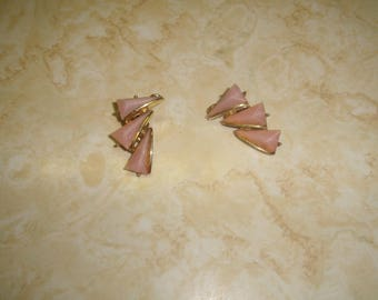 vintage clip on earrings goldtone pink thermoset moonglow lucite