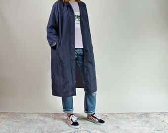 60s Swan nylon navy blue unisex street style raincoat made in Italy