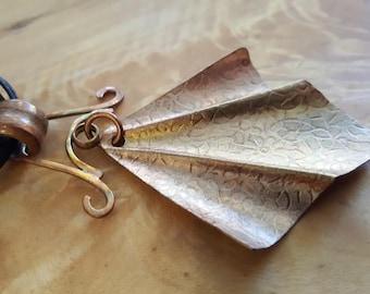 Copper Fold Form Pendant - Wing of Bat
