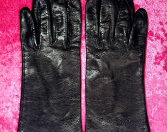 Black Italian Kid Leather Driving Gloves ~ Size 8
