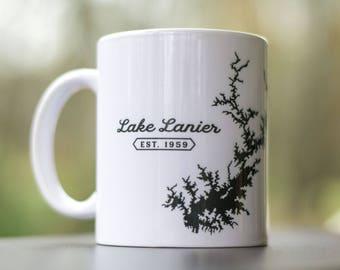 Lake Lanier Mug - Lake Sidney Lanier silhouette coffee cup - Georgia souvenir gift
