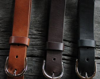 "handmade 1.25"" LEATHER BELT. NICKEL buckle. vegetable tanned. handmade. genuine leather belt. men's leather belt. women's leather belt."