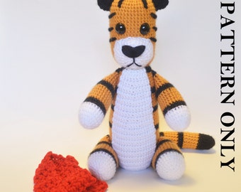 PATTERN: Crochet Tiger Pattern.  (With removable scarf) Crochet tiger pattern, crochet animal pattern