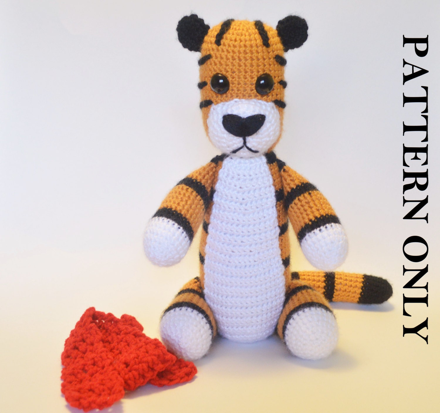 PATTERN: Crochet Tiger Pattern. (With removable scarf) Crochet tiger ...