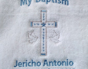 Baptism towel,baptism day,personalized baby,baptismal towel,baptism gift,small towel,personalized towel,church cloth,cross,blanket,baby gift