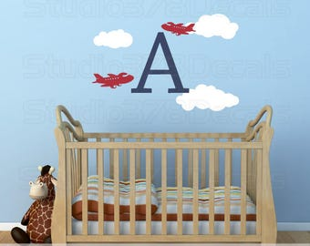 Airplane Wall Decals | Airplane Nursery Wall Decal Initial | Boy Nursery Decal | Airplane Decor | Aviation Room Decor | Nursery Clouds Decal