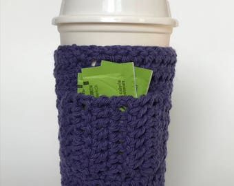 Travel/disposable coffe cup cozy with pocket