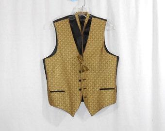 Mens Vintage Vest Dress Vest Formal Vest Gold and Black Vest and Matching Mens Bow Tie