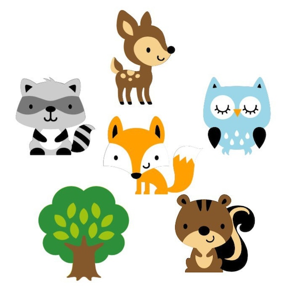 Good Woodland Animal Die Cuts Set Of 6 / Woodland Baby Shower Paper