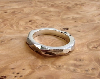 men's silver band geometric faceted silver ring, modern silver band