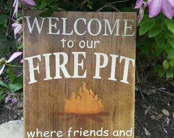 Welcome To Our Firepit   Firepit Sign   Campsite Sign   Summer Decor   Camping Sign   Welcome Sign   Made in Canada