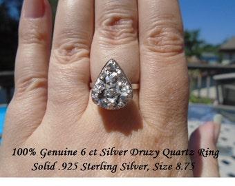 100% Natural 6 ct Pear Cut Silver Druzy Quartz Ring