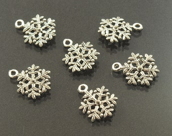 Pewter 3D Snowflake Charms Silver Ox Made in USA 14mm - 6
