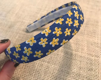 Blue and yellow floral fabric covered hard headband!