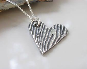 Heart Necklace - Silver Necklace - Heart Pendant - Fine Silver Necklace - Fine Silver Pendant - Woodgrain Heart - Ready to Ship