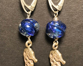 "Dichroic and Silver ""Seahorse"" Earrings"