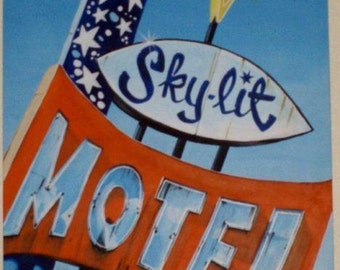 Large acrylic painting of a Vintage motel sign, the Sky-Lit