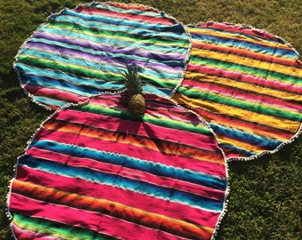 Round Blanket- Colorful Mexican Serape Blanket with pom pom trim- Bohemian Beach- Hot Pink