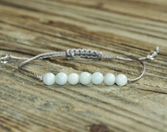 Aquamarine Yoga Bracelet, Throat Chakra Mala, Fifth Chakra, Gemstone Therapy, Meditation Bracelet, Wish Bracelet, Reiki