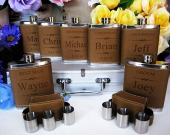 Groomsmen Flask Set,  2 Groomsman Gift Flask Set with 3 Shot Glasses