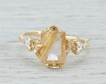 Rutilated Quartz Nature Inspired Engagement Ring Emerald Cut - Gold Quartz Twig Ring in Yellow Gold, Rose Gold, White Gold or Platinum