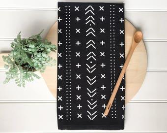 Tea Towel - Chalkboard Tea Towel Mudcloth Tea Towel Boho Chic Boho Decor Farmhouse Decor Kitchen Towel Bohemian Decor Black and White Towel