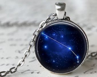 Aries - Zodiac Pendant Necklace or Key Chain - Choice of 4 Bezel Colors - March 21st - April 19th Birthday, Constellations, Space