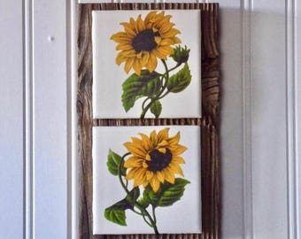 Sunflower Wall Art, French country decor, sunflower wall decor, barnwood decor, flower art, kitchen sign, sunflower decor, country decor