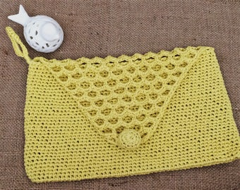 Special Covered Yellow Crochet  Clutch