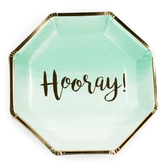 8pc Foiled Gold and Mint Ombre Hooray Script Dinner Plate, Gold Mint Birthday Plate, Ombre Party Decor, Baby Shower Decor Mint Green