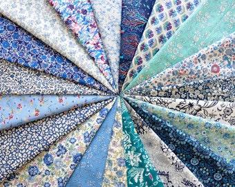 "20 LIBERTY fabric Tana Lawn 5"" x 5"" Patchwork Charm Squares, scraps, pieces  'Blue Squares'"