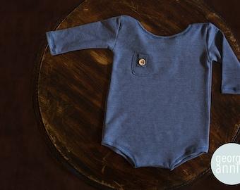 Long Sleeve Little Boy Romper in Blue - Newborn - Photography Prop