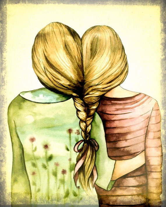 two sisters, best friends art print with blond hair