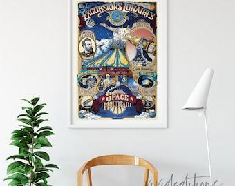 Disneyland Poster, Vintage Paris Space Mountain Attraction Poster, Nursery Art, Kids Playroom, Giclee Print, Home Decor, Wall Art Not Framed