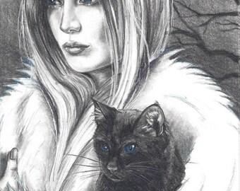 Witch Art Print Black Cat Art Print Halloween Art Gothic Art Conjuring 8x10