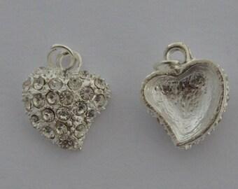 1 pendant hearts rhinestones Platinum 18x15mm - Ref: