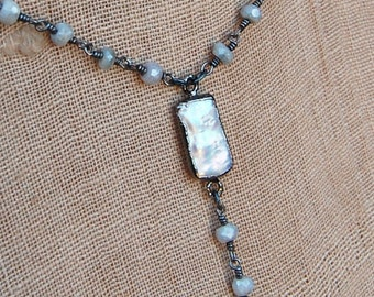 Pearl In Silver Bezel Necklace With Organic Silver Drop