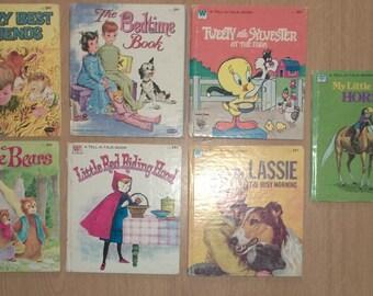 7 Vintage WHITMAN TELL a TALE Books Lassie Three Bears Tweety Sylvester Horses