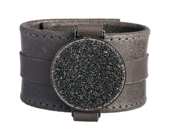 Wide Leather Cuff - Gift Girlfriend - Swarovski Crystals - Brush-Style Leather - Brown Leather - Wide Bracelet - Gift Wife - Wide Wristband