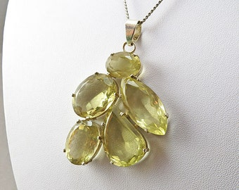 Vintage Citrine Pendant In Sterling Silver Fittings Statement Pendant Unusual Jewelry