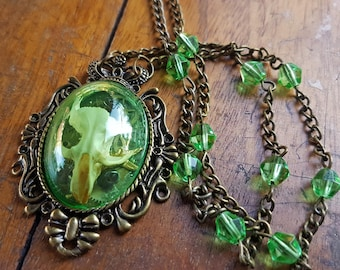 Taxidermy Rat Skull Shadowbox Necklace - Rosalind in Bronze & Green