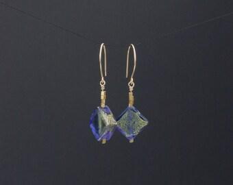 Venetian glass gold earrings. Blue diamond murano glass earrings. Gold filled beaded earrings. Gold drop earrings.