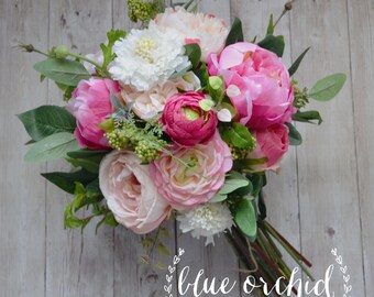 Wedding Bouquet, Peony Bouquet, Garden Bouquet, Wildflowers, Boho Bouquet, Wildflower Bouquet, Silk Flowers, Pink, Bridal Bouquet, Wedding