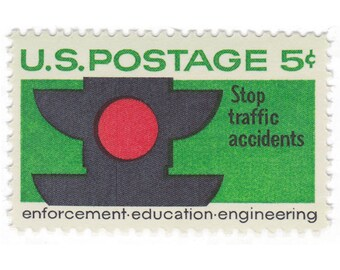 1965 5c Traffic Safety Stamp - 10 Unused US Vintage Postage Stamps - Item No. 1272