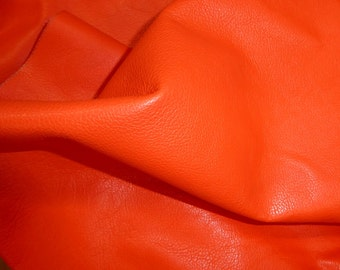 "Leather 12""x12"" DIVINE Bright ORANGE top grain Cowhide 2.5 oz / 1 mm half hides available PeggySueAlso™ E2885-11 Full hides available"