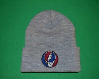 Grateful Dead -- Steal Your Face Embroidered on a Dark Gray Cuffed Beanie --- FREE Shipping----