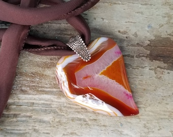 Beautiful Heart Necklace, Striped Agate Heart Shaped Stone Necklace on Brown Silk Necklace