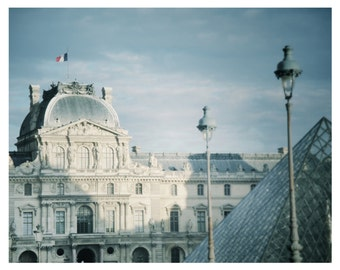 France Photography-The Louvre 8 x 10 Dreamy Photography, Paris, France, Musee du Louvre, French Architecture, Travel Photography, Romantic