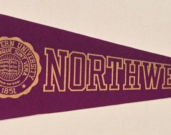 Circa 1940's Northwestern University Flocked Felt Style Pennant by Chicago Pennant Company - Antique College Memorabilia